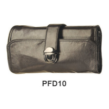Black satin hand bag with buckle for makeup kit