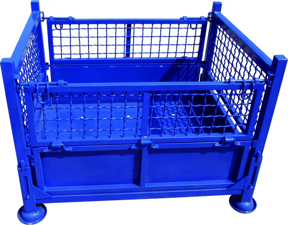 Wire cage metal bin storage container