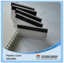 White plastic 30mil credit card size magnetic stripe card