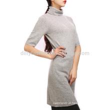 Cashmere senhoras vestido de inverno alto pescoço tricô desenhos mulher vestido de lã de inverno