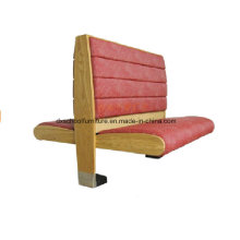 Red Color Wood Fabric Two Side Booth Sofa