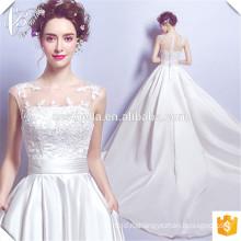 2017 Новая атласная чистый Белый бальное платье свадебное платье Cestbella TS2097