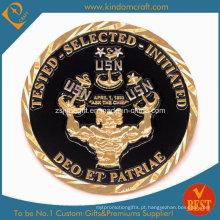 Promoção esmalte desafio moeda com placa de ouro