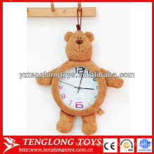 """Hot sale kids gift 8"""" washable plush clock with bear toy"""