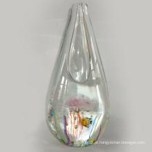 Vaso de vidro da arte com água-viva