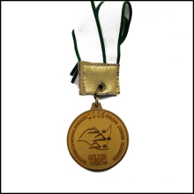 Golden Competitive Medal with Ribbon Stampped Logo Medal (GZHY-JZ-026)