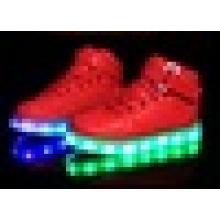 Unisex USB charging transparent rubber outsole high cut LED light shoes for children