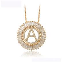 34440 vente chaude xuping collier de mode luxueux rond lettre Un collier de couleur or 18K