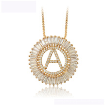 34440 hot sale  xuping fashion necklace luxurious Round letter A 18K gold color necklace