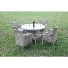 Mesa y silla de mimbre al aire libre del jardín de la rota