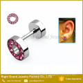 New design PVD Gold Plated Multi-Crystal Fake Plugs Surgical Steel