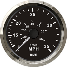 Kus Gauges 85mm Speedometer 0-35mph Black Faceplate 316 Stainless Steel Bezel for The Boat Yacht Marine