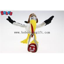 """7,5 """"altura branco guindaste com carro pacote mascote brinquedos personalizados brinquedo de animais enchidos Bos1124"""