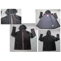 Yj-1065 Black Polar Fleece Waterproof Breathable Mens Softshell Jacket with Hood