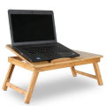 Bamboo Folding Laptop Table Stand Adjustable Bed Table