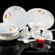 Купе форма китайская живопись столовые приборы нож вилка ложка тонкая кость фарфор посуда