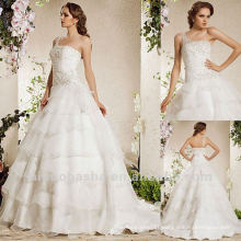 New Arrival Ball Gown Tiered One Shoulder Sequin Sweep Train Wedding Dress Bridal Gown