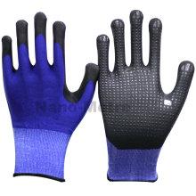 NMSAFETY anti slip Automotivo e uso de transporte azul PVC pontos em luvas de trabalho de palma azul nitrilo