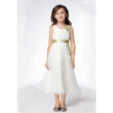 A-line Round Neck Tea-length Satin Organza Ribbons Flower Girl Dresses