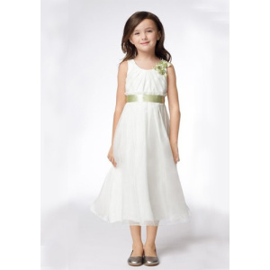 A-line Rund halslång Satin Organza Ribbons Flower Girl Dresses