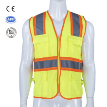 reflective road traffic safety warning vest with pocket