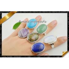 Charm Gemstone Druzy Ring en couleur mixte, forme ovale Druzy Stone Finger Rings réglable (FR002)