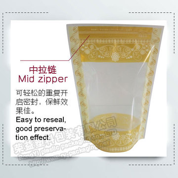 Stand up  Transparent Zip Bag with Lace Design