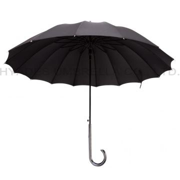 ดำ 16 ซี่โครง Strong Auto Open Straight Umbrella