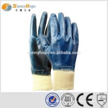 Трикотажные синие плоские промышленные перчатки