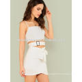 Buckled Wrap Crop Top With Tie Waist Overlap Skirt Manufacture Wholesale Fashion Women Apparel (TA4115SS)