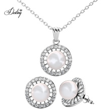 Delicate Crystal Wedding Jewelry Sets Pendant Necklace and Earrings with 8mm Round Pearl for Women