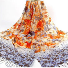 Echarpe et châle en laine nationale avec fil de ruban