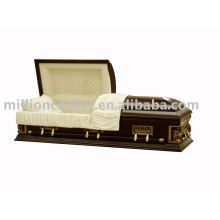 Solid poplar casket with red walnut color