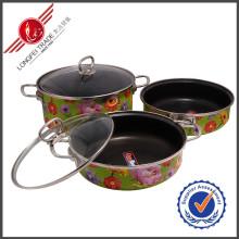 3 Stück Geschirr Emaille Kochgeschirr Set