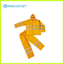 2PCS PVC Polyester Waterproof Workwear with Reflective Tape