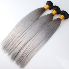 2016 new products #1b/grey Brazilian virgin human hair weft straight dark root black to gray human hair extensions