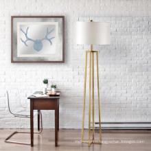 fabric shape metal base brass antique floor lamp