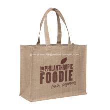 Logo Printed Jute Bags Long Handle At Top