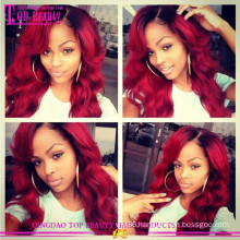 Natural looking 1b/burg full lace wig 100% human hair ombre wig for fashion women