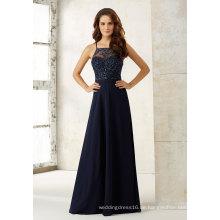 Marineblaue Chiffon Brautjungfer Kleid mit Perlenstickerei