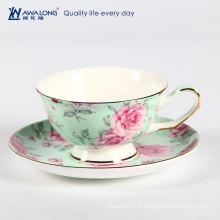 240ml Peony Painting Extravagant Green Fine Ceramic Bone Chine Ensemble de coupe de café et de soucoupe