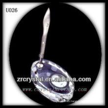 K9 Crystal Pen Holder con reloj plateado
