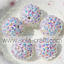 18*20MM White AB Solid Resin Rhinestone Ball Beads For Jewelry Making