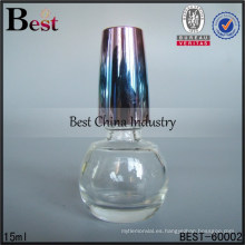 Botella redonda del esmalte de uñas 15ml con el casquillo coloreado, botellas al por mayor del OEM, botellas vacías del esmalte de uñas de cristal