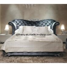 Cama de la tela de madera de casa de muebles de dormitorios de estilo neoclásico (LS-411)