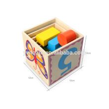 Vente chaude cinq couches en bois bloc cube puzzle 3d