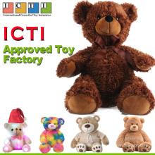 Fábrica de juguetes aprobada por ICTI Comercio al por mayor de Mini Cute Teddy Bear rellenos de encargo pequeña ropa de peluche de juguete de peluche con camisetas