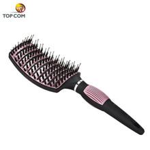 Brosse à cheveux démêlante à baril incurvé nano-thermique en céramique et ionique