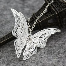 Silver Lovely Butterfly Pendant Necklace Jewelry for Women Girls Kids Pendant Chain Necklace 20+2 inch Women Jewelry