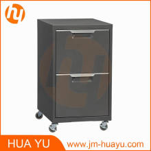 Cabinet mobile de stockage de carbone de 2 tiroirs pour la chambre à coucher, le salon ou le bureau